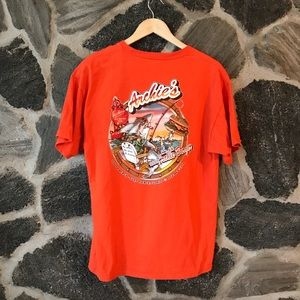 v t g | bright orange Archie's burgers T-shirt